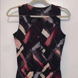 White House Black Market Abstract Faux Wrap Dress